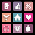 Icons set metro style interface mobile applications Royalty Free Stock Photography