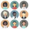 Icons set of persons female different ethnic colorful circle nationality in trendy flat style Stock Photography
