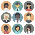 Icons set of persons female different ethnic colorful circle nationality in trendy flat style Stock Photos