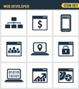 Icons set premium quality of adaptive website customization web develop process modern pictogram collection flat design style Royalty Free Stock Photo
