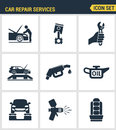 Icons set premium quality of car repair services instrumentation support technology tool service. Modern pictogram collection flat