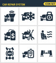 Icons set premium quality of car repair system icon  automobile instrument service. Modern pictogram collection flat Royalty Free Stock Photo