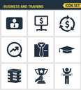 Icons set premium quality of corporate management and business leader training.