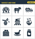 Icons set premium quality of harvest and farm agriculture agronomy business. Modern pictogram collection flat design Royalty Free Stock Photo