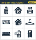 Icons set premium quality of hotel service amenities, rent house facilities. Modern pictogram collection flat design