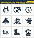 Icons set premium quality of housekeeping and countryside industry agronomy agriculture. Modern pictogram collection flat design s Royalty Free Stock Photo