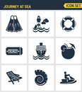 Icons set premium quality of journey at sea summer tropical vacation diving sea modern pictogram collection flat design style sym Stock Photo