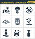 Icons set premium quality of plants growing and agronomy farming farmer bio stem. Modern pictogram collection flat Royalty Free Stock Photo