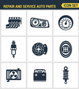 Icons set premium quality of repair and service auto parts automotive tools garage. Modern pictogram collection flat design style