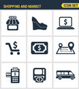 Icons set premium quality of shopping symbol, shop elements and commerce items, market objects and store products