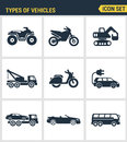 Icons set premium quality of types vehicles traffic car transport auto icon . Modern pictogram collection flat design