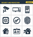 Icons set of premium quality of various security objects, information and data protection system Royalty Free Stock Photo