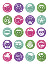 Icons set profession smilies differents colors and emotions in pointers Stock Photo