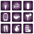 Icons set of purple buttons with different Stock Photography