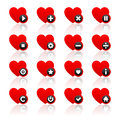 Icons set - red hearts and black buttons