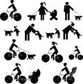 Icons set redsport and dogs people in radsport dog Stock Photos
