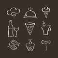Icons set for restaurant Stock Photography