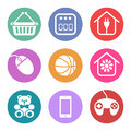 Icons set for supermarket sections several referring to or hypermarket Stock Photo