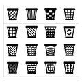Icons set of trash basket garbage can for recycle Stock Photo