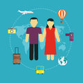 Icons set of traveling tourism and journey planning a summer vacation concept travel Royalty Free Stock Photography