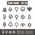 Icons set tree line black Modern Style design elements Geometry