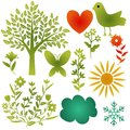 Icons set various nature flora and fauna collection Royalty Free Stock Photography