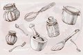 Kitchenware, illustration, sketch. Vector - Illustration Royalty Free Stock Photo