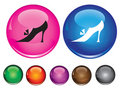 Icons with sign of woman shoe Royalty Free Stock Photos