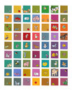 Icons for sites and animal food. milk cow with hen eggs bee with honey rabbit, sheep apples pigs and birds flowers dogs humorists Royalty Free Stock Photo