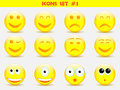 Icons smile set illustration illustrator Stock Photography