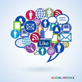 Icons of social media speech bubble in shape Royalty Free Stock Image
