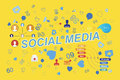 Icons of social networks and symbols of notifications. Flat illustration EPS 10