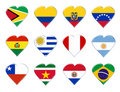 Icons of South America country flags Stock Image