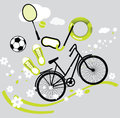 Icons of summer sport with grey background Stock Photos