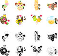 Icons of sweets and little people there are cute on the Royalty Free Stock Photography