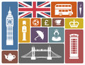 Icons on a theme of england symbols and london in retro style Stock Photo