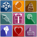 Icons to birthday set of of different color Royalty Free Stock Photo