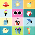 Icons to the summer recreation beautiful colored Royalty Free Stock Images