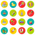 Icons of toys in the flat style. Vector image on a round colored background. Element of design, interface