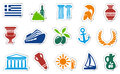 Icons traditional greek symbols stickers Stock Images