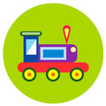 Icons trains of toys in the flat style. Vector image on a round colored background. Element of design, interface