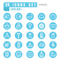 Icons travel color thin white in the circle blue on white backgr Royalty Free Stock Photo