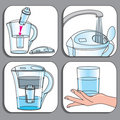 Icons used for filter-jugs set Stock Photography