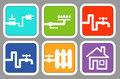 Icons Utility meters: electricity, gas, cold water, hot water, heating Royalty Free Stock Photo