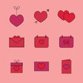 Icons for valentine s day heart on a string the heart with an arrow postcards calendars gifts vector Royalty Free Stock Photo