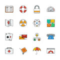 Icons vector set. Color line signs. Web Royalty Free Stock Photo