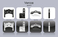 Icons of venice landmarks set monochrome editable vector illustration Stock Photography