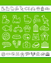 Icons on a veterinary science and care theme house pupils Royalty Free Stock Photography