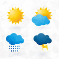 Icons for weather with sun and cloud motif Royalty Free Stock Photo