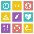 Icons for web design and mobile applications set vector illustration Stock Photo